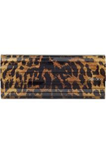 Jimmy Choo Clutch Sweetie Com Estampa De Leopardo - Marrom
