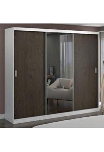 Guarda-Roupa Casal 3 Portas Com 1 Espelho 100% Mdf 7320E1 Branco/Málaga - Foscarini
