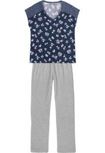 Pijama Feminino Em Malha De Algodão Com Estampa E Recorte Nos Ombros
