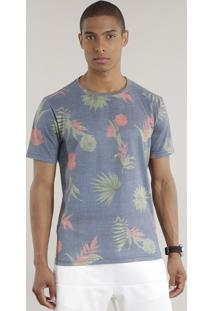 Camiseta Estampada Floral Cinza