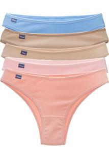 Kit Mury'S 5 Tanga Calcinha Cotton Cavada - Bege/Multicolorido - Feminino - Algodã£O - Dafiti