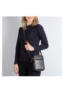 Bolsa Shoulder Bag De Couro Croco Pietra Preta Brilho