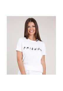 Blusa Feminina Friends Manga Curta Decote Redondo Branca