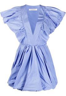 Philosophy Di Lorenzo Serafini Vestido Mini Godê Com Babados - Azul