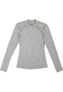 Blusa Em Malha Canelada Com Botões Cinza