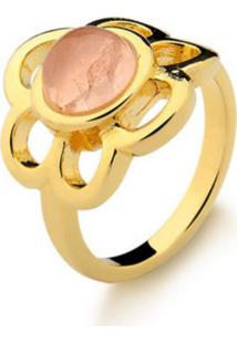 Anel Infantil Flor Quartzo Rosa Pedra Natural Di Capri Semi Jóias X Ouro Incolor