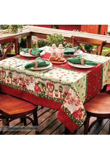 Toalha De Mesa Estampada Natal- Vermelha & Branca- 1Lepper