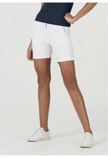 Bermuda Hering Sarja Com Modelagem Chino Feminina - Feminino-Branco