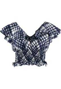 Rixo Blusa Cropped Com Estampa - Azul