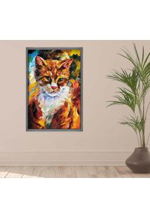 Quadro Love Decor Com Moldura Gato Grafitti Metalizado Grande