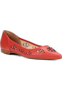 Sapatilha Couro Shoestock Bico Fino Flor Feminina - Feminino-Vermelho