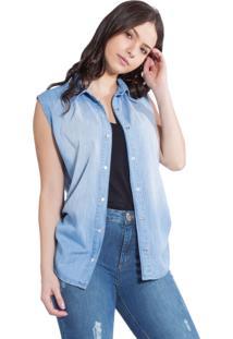 Camisa Rosa Line Jeans Com Regulador Lateral