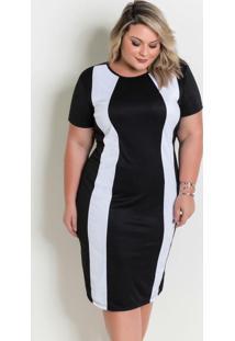 Vestido Midi Preto E Branco Plus Size
