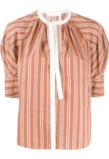 Chloé Puff-Sleeve Striped Blouse - Marrom