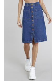 ed8662bd79 CEA. Saia Jeans Feminina Midi Com Botões Azul Médio