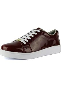 Tênis Plataforma Flatform Cr Shoes 4030 Bordô/Vinho