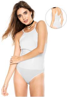 Body Triton Paetê Branco