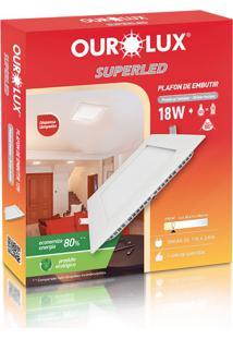 Plafon Quadrado Embutir Branco (2700 K 18W)