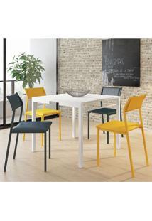 Mesa 1525 Branca Com 4 Cadeiras 1709 Color Uv Azul Noturno/Amarelo Carraro