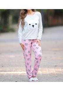 Pijama Longo Meia Malha Bulldog Lua Cheia (0934)