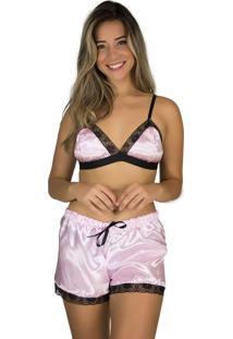 Baby Doll Cetim Rb Moda Pijama Rosa - Ref 043