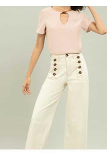 Blusa Recorte Com Detalhe Rosa Apricot - Lez A Lez