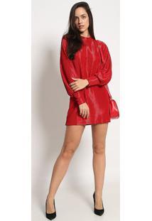 Vestido Texturizado Com Brilhos- Vermelho- Colccicolcci
