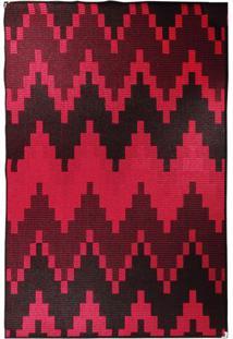 Tapete Sisllê Geométrico Viii Retangular Polipropileno (133X190) Preto E Vermelho