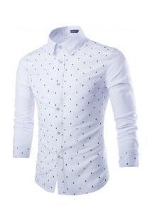 Camisa Masculina Com Design Caveira Estampado Manga Longa - Branco
