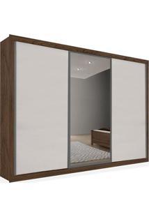 Armário 03 Portas De Correr 2,46 Espelho Central, Ébano Com Branco, Premium Plus Ii
