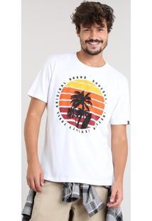 Camiseta Masculina Coqueiros Manga Curta Gola Careca Off White