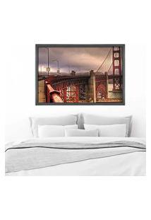 Quadro Love Decor Com Moldura Golden Gate Grafitti Metalizado Grande