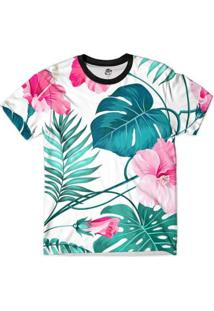 Camiseta Bsc Floral Tropical Print Masculina - Masculino-Branco