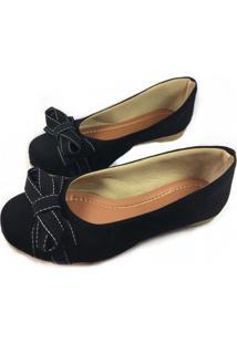Sapatilha Likka Calçados Preta Basica Moda Tamanho Especial