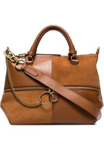 Chloé Brown Patchwork Suede Leather Tote - Marrom