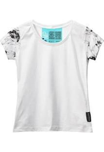 Camiseta Baby Look Feminina Algodão Estampa Flor Estilo Moda - Feminino-Branco+Preto