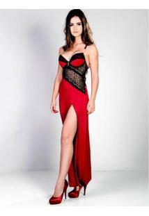 Camisola Longa Sweet Love Yasmin Lingerie Feminina - Feminino-Vermelho Escuro+Preto