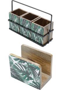 Conjunto Leafage Com Porta Talher E Porta Guardanapo Em Madeira Bon Gourmet Verde - Kanui
