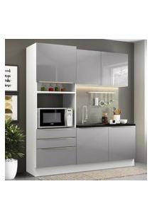 Cozinha Compacta Madesa Lux Com Armário E Balcáo 5 Portas 3 Gavetas - Branco/Cinza Cinza