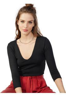 Blusa Cropped De Tricot Decote V