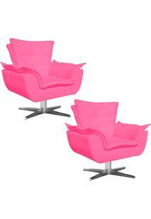 Kit 02 Poltronas Decorativas Gran Opala Base Estrela Em Aço Cromado Suede Rosa Barbie - D'Rossi