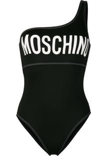 Moschino Maiô Ombro Único Com Estampa De Logo - Preto