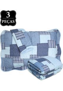 Kit 3Pçs Colcha Queen Santista Boutis Jeans Azul