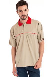 Camisa Polo Konciny Manga Curta Bege
