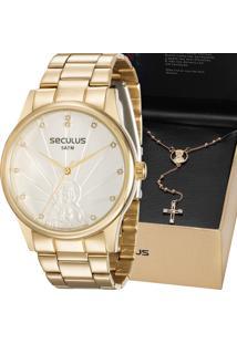 Kit Relógio Seculus Feminino Jesus Cristo 28918Lpskds1K1