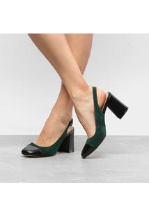 Scarpin Couro Luiza Barcelos Salto Médio Bicolor - Feminino-Verde Escuro