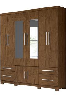 Guarda-Roupa Casal Com Espelho Porto Plus 8 Pt 4 Gv Castanho Wood