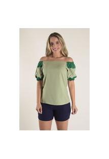 Blusa Mamorena Ombro A Ombro Com Recortes Verde