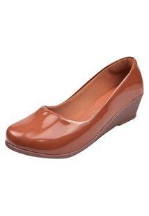 Sapato Scarpin Conforto Feminino Salto Anabela Confortável Caramelo Verniz Eleganteria