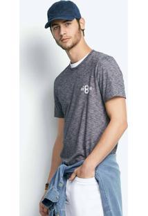 Camiseta Masculina Slim Em Malha Texturizada De Algodão Estampada